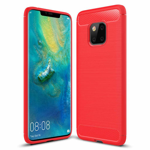 Flexi Carbon Fibre Tough Case for Huawei Mate 20 Pro - Brushed Red